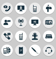 communication icons set with headphone contact vector image