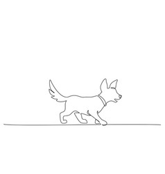 Continuous one line drawing walking dog vector