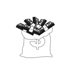 contour bank bag with many bills inside vector image