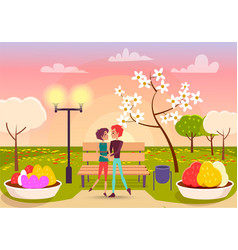 Couple looks eyes to eyes in park near streetlight vector