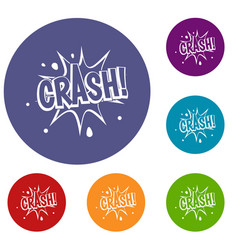 crash explosion icons set vector image