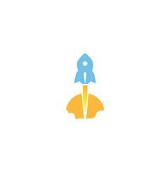 creative blue rocket sun logo vector image