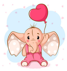 Cute elephant with pink balloon vector