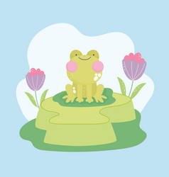 Cute frog on grass vector