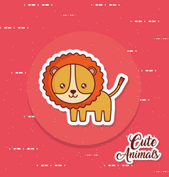 Cute lion icon image vector