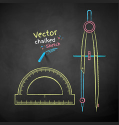 divider compass and protractor vector image