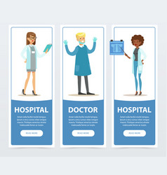 Doctor and hospital banners set medical staff vector