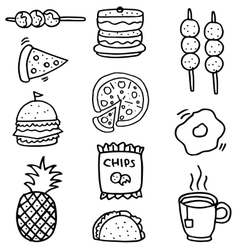 Doodle of food set element stock vector