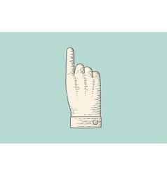 Drawing of hand sign with thumbs up in engraving vector image