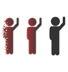 Dust pixel halftone child hello icon vector