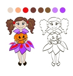 Fairy Character Set with Pumpkin vector
