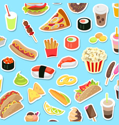 fast and junk kinds food scattered on blue vector image