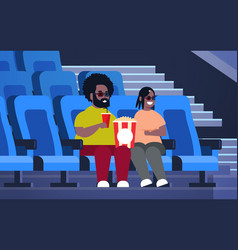 Fat couple in 3d glasses watching movie sitting vector