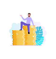 Financial consultant or investor sits on a stack vector