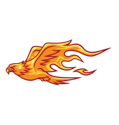 fire eagle phoenix falcon head flame logo vector image