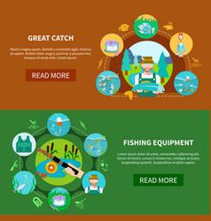 fishing equipment horizontal banners vector image