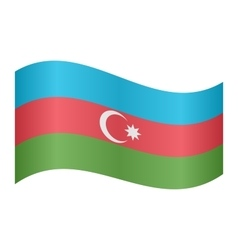 Flag of Azerbaijan waving on white background vector image
