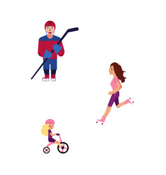 Flat adult man woman girl kid sports set vector