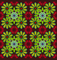 Flowers on green brown and black colors seamless vector