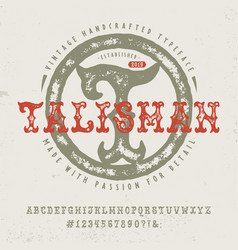 font talisman hand crafted retro typeface vector image