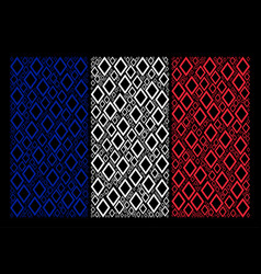 France flag pattern of contour rhombus items vector