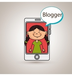 Girl cellphone blogger web vector