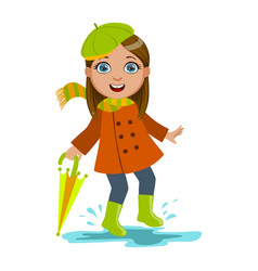 Girl in green beret with umbrella kid in autumn vector