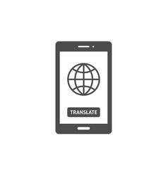 globe on smartphone screen icon vector image vector image