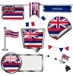 Glossy icons with Hawaiian flag vector