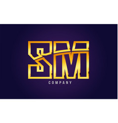 Gold golden alphabet letter sm s m logo vector