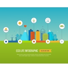Green eco city infographic Ecology concept vector image