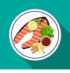 Grilled Salmon steak with french fries vector image