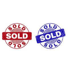 grunge sold textured round stamp seals vector image