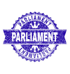 Grunge textured parliament stamp seal with ribbon vector