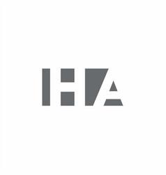 Ha logo monogram with negative space style design vector