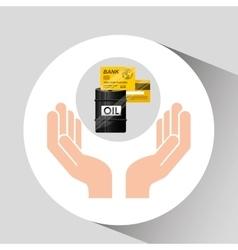 Hand oil industry barrel credit card vector