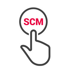 hand presses the button with text scm vector image