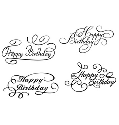 Happy birthday calligraphic embellishments vector image