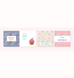 Happy birthday greeting card set and party vector