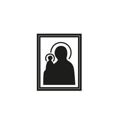 Icon our lady orthodoxy catholicism vector