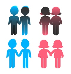 Icon set blue stick figure man male and pink women vector image