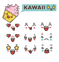 Kawaii emojis set asian japanese smileys vector