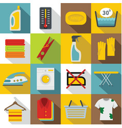 Laundry icons set flat style vector