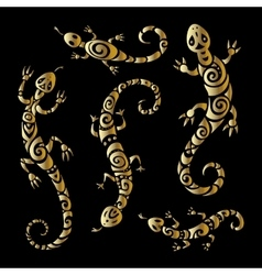 Lizards Polynesian tattoo style vector