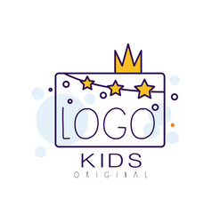 logo kids original creative concept template vector image