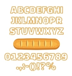 Long loaf alphabet numbers vector