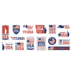 made in usa label american flag emblem patriot vector image