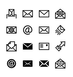 Mail icons set of 16 e-mail symbols vector