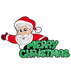 Merry christmas sign with santa vector