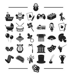 Music concert circus and other web icon in black vector